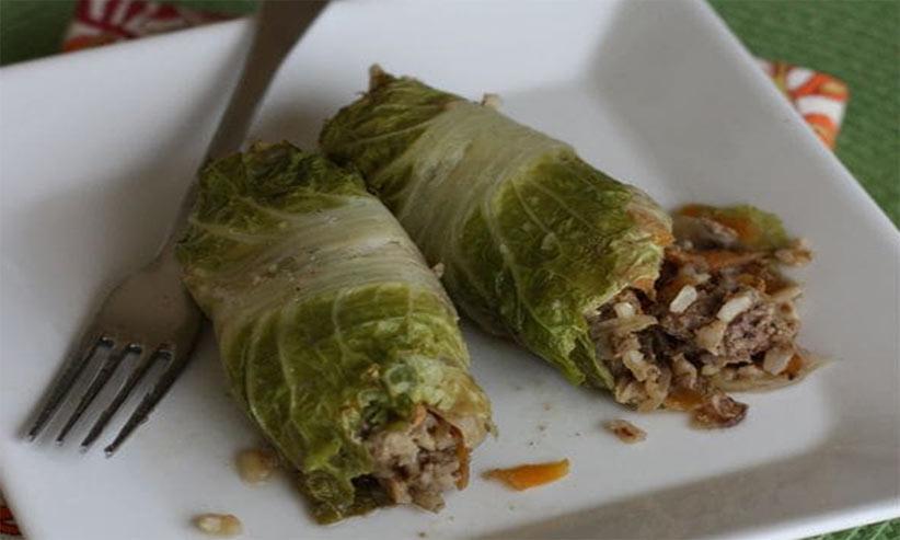 asian lentil cabbage rolls