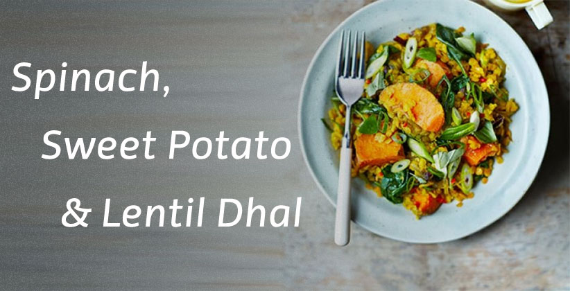 Lentil Dahl with sweet potatoes, and spinach