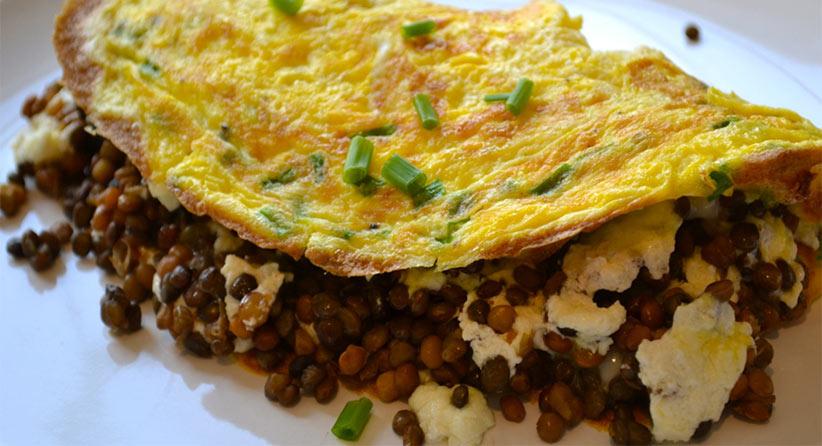 lentil with egg omelet